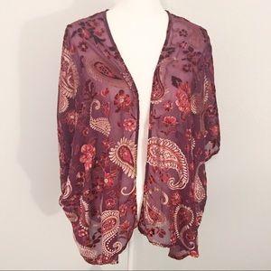 Umgee sheer velvet floral paisley kimono